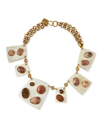 Ashley Pittman New Majani Brown Quill /&  Labradorite Necklace MSRP $895