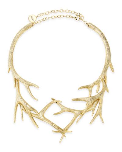 Gold Antler Collar Necklace