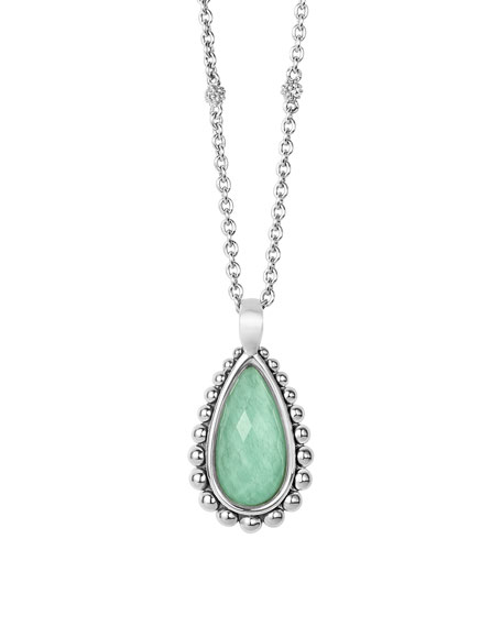 Silver Beaded Maya Variscite Teardrop Pendant Necklace