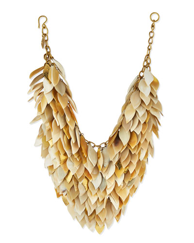 Tanzu Light Horn Layered Chain Leaf Necklace