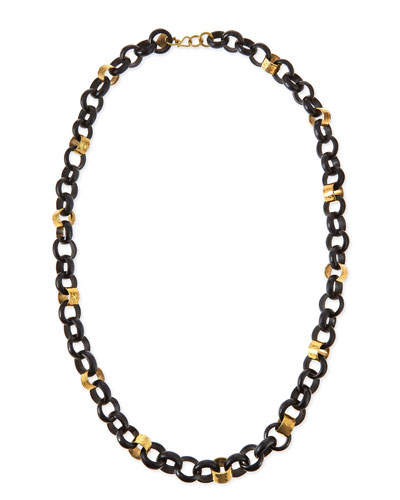 Jinsi Dark Horn Round Chain Necklace