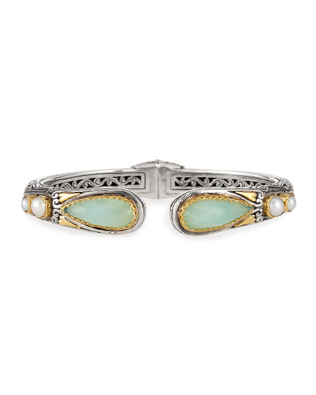 Konstantino Sea Blue Agate-Tip Hinge Bracelet