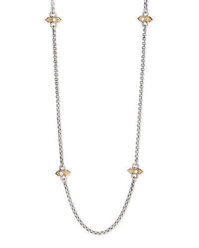 Silver Pearl-Station Necklace, 36