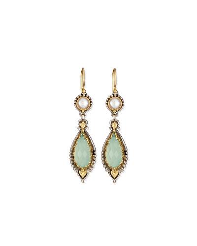 Sea Blue Agate & Pearl Drop Earrings