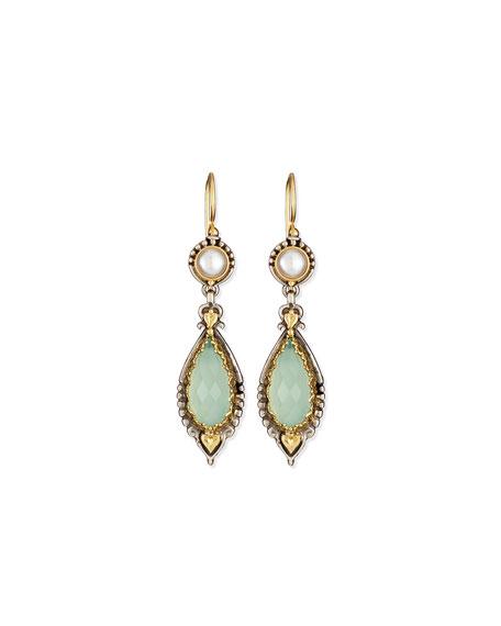 Amphitrite Sea Blue Agate & Pearl Drop Earrings