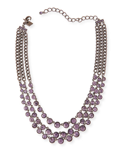 Katharine Triple-Strand Crystal Necklace, Purple