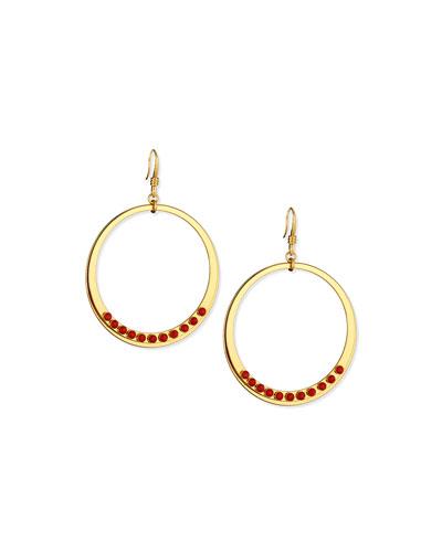 Susan Coral Circle Drop Earrings
