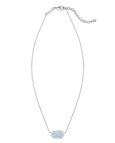 Elisa Pendant Necklace, Blue Lace Agate