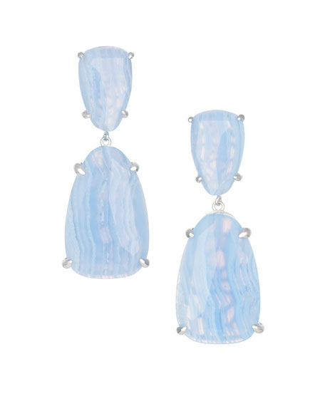 Katie Earrings, Blue Lace Agate