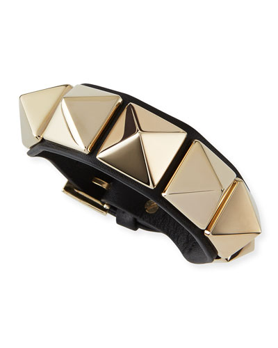 Va Va Voom Leather Rockstud Bracelet, Black