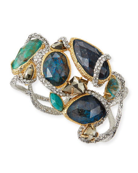 Alexis Bittar Asymmetric Crystal Vine Hinge Bracelet