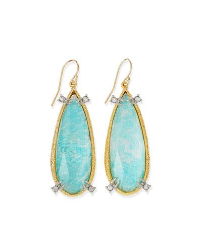 Amazonite Crystal Teardrop Earrings