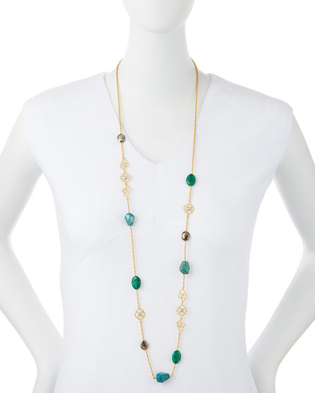 Chrysocolla & Pyrite Long Necklace