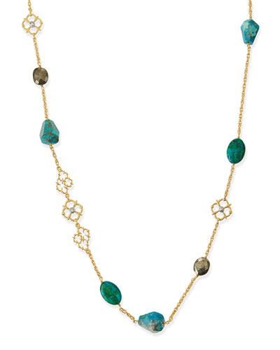 Chrysocolla & Pyrite Long Necklace