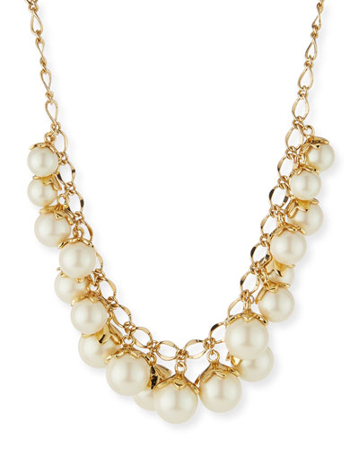 petaled faux-pearl necklace