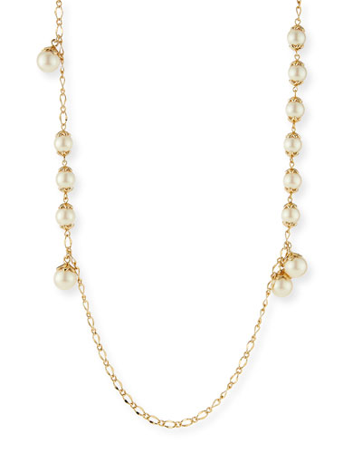 petaled pearly wrap necklace