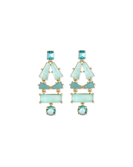 beach gem statement earrings, aqua