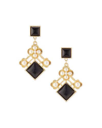 Pearly Cluster Drop Earrings