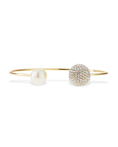 Crystal & Pearly Cuff Bracelet