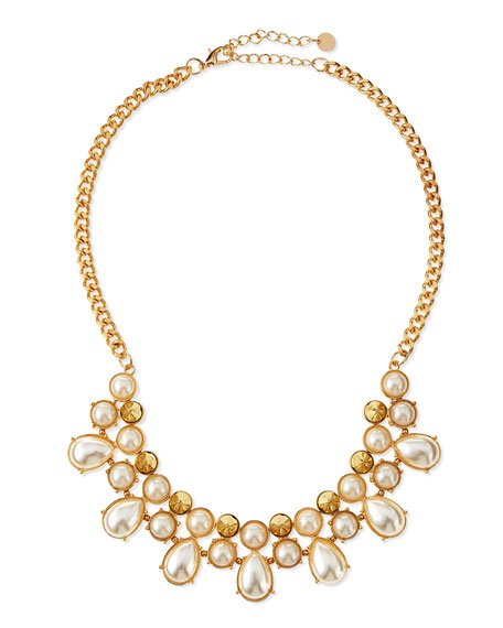 Pearly Stud Statement Necklace
