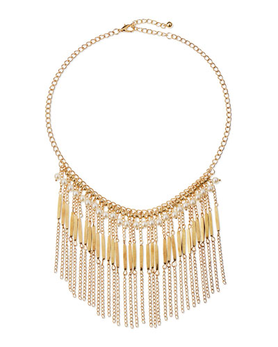Pearly Chain Fringe Necklace
