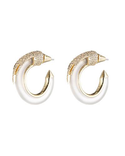 Gold-Plated Crystal Plume Hoop Earrings
