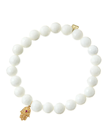 Sydney EvanWhite Agate Beaded Bracelet with 14k Gold