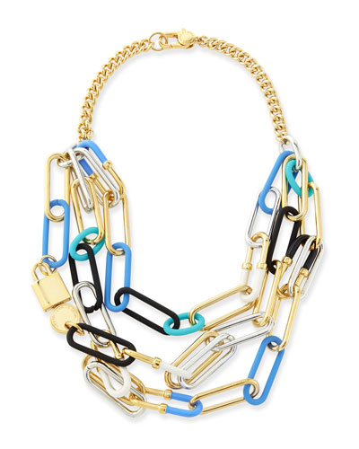 Multi-Row Padlock Statement Necklace
