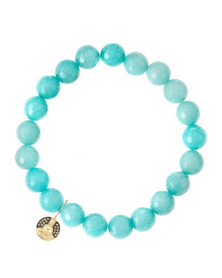Sydney EvanAqua Jade Beaded Bracelet with 14k Gold