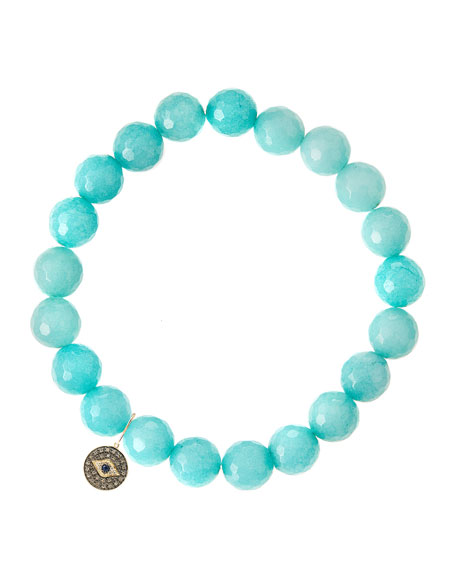 Aqua Jade Beaded Bracelet with 14k Gold Round Evil Eye Charm (Made to Order)