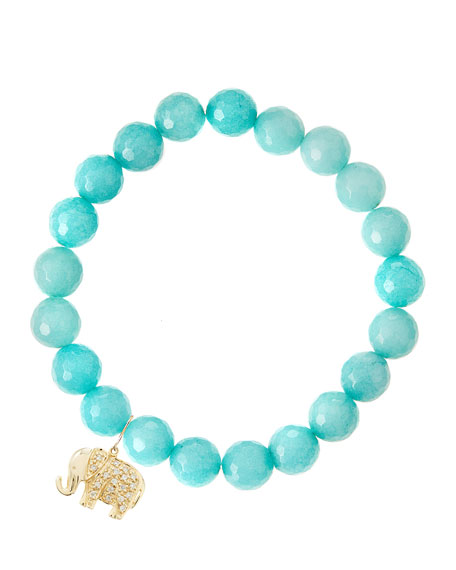 Sydney Evan Aqua Jade Beaded Bracelet with 14k