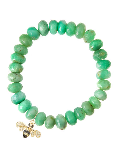 Chrysoprase Rondelle Beaded Bracelet with Bee Charm (Made to Order)