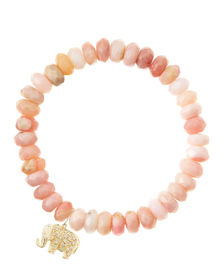 Pink Opal Rondelle Beaded Bracelet with 14k Elephant Charm (Made to Order)