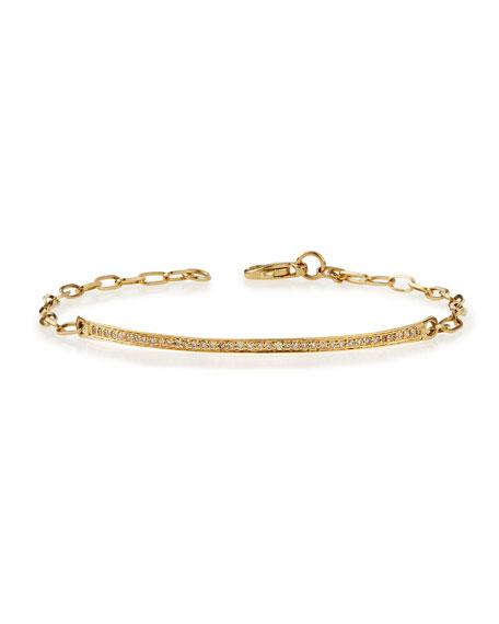 14k Gold Thin Diamond Bar Bracelet