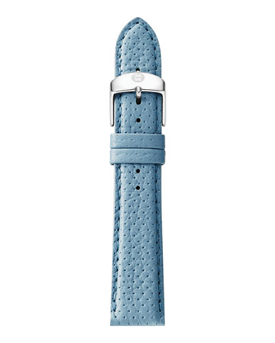 16mm Perforated Leather Watch Strap, Light Blue