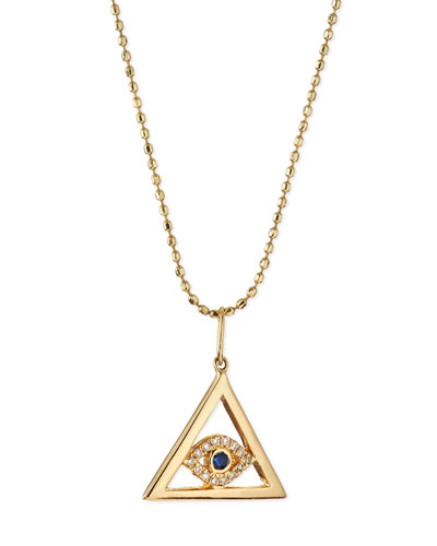 14k Gold Evil Eye Pyramid Pendant Necklace