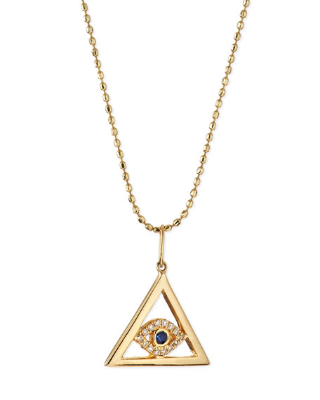 Sydney Evan 14k Gold Evil Eye Pyramid Pendant