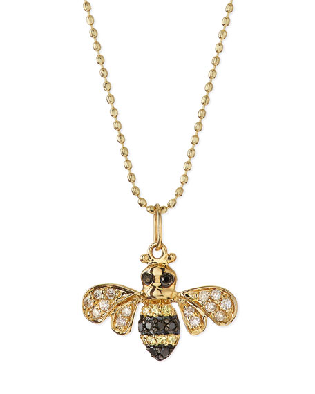 Sydney Evan 14k Gold Diamond Bee Pendant Necklace