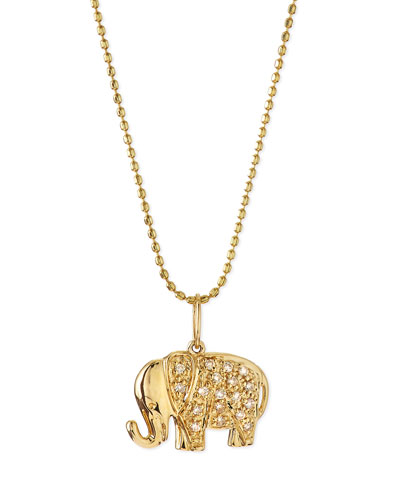 14k Gold Diamond Elephant Pendant Necklace