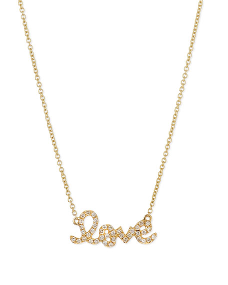 14k Gold Diamond Love Pendant Necklace