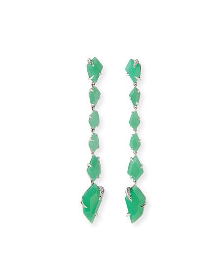 Chrysoprase Linear Kite Earrings, Mint