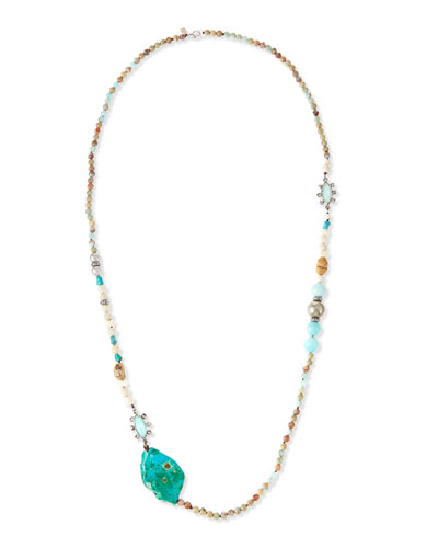 Navette Station Long Beaded Necklace