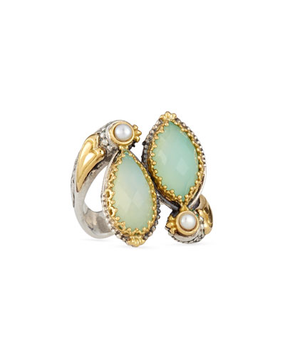 Sea Blue Agate Bypass Ring