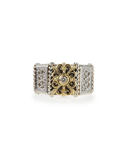 Silver & 18k Gold Diamond Band Ring