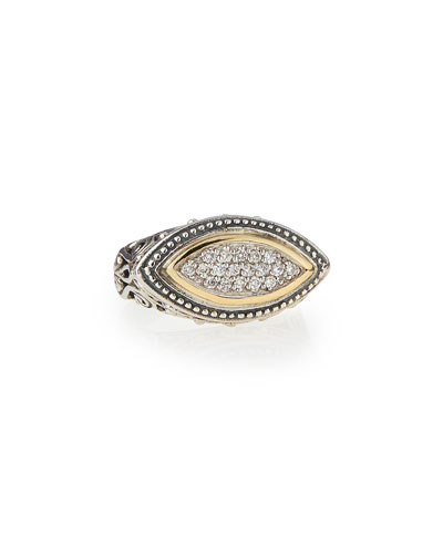 Silver & 18k Gold Diamond Marquise Ring