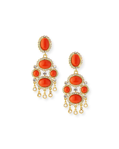 Crystal Cabochon Clip-On Earrings, Coral