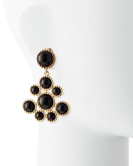 Cabochon Cluster Drop Earrings, Black