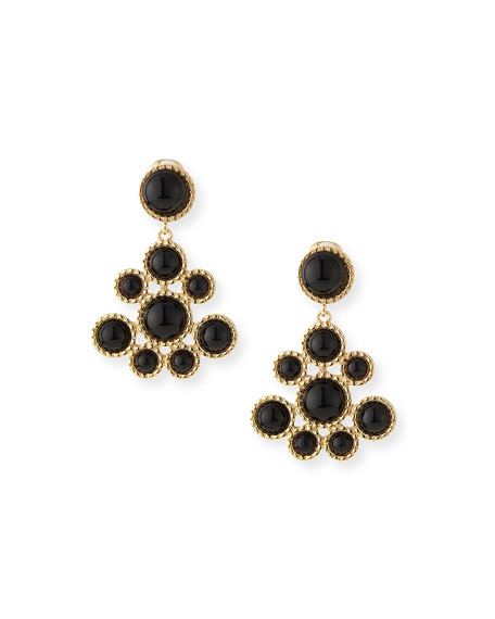 Cabochon Cluster Drop Earrings, Black
