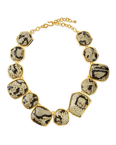 Snake-Print Nugget Necklace