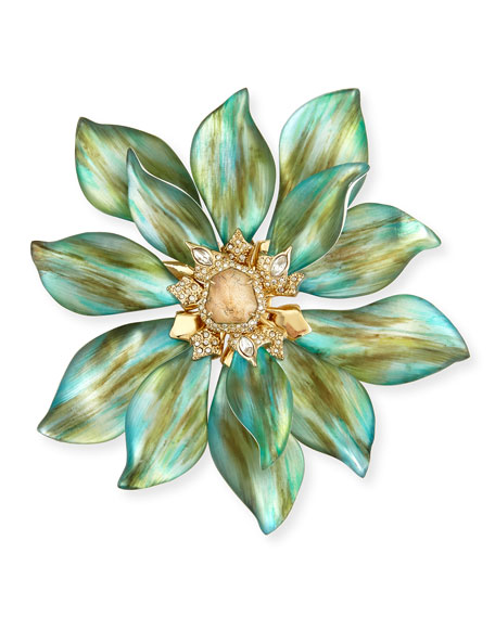 Lucite Movable Petal Large Flower Pin, Aqua